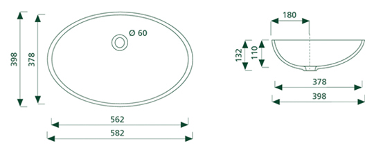 getacore wasbak GC-OV-562  ovaal